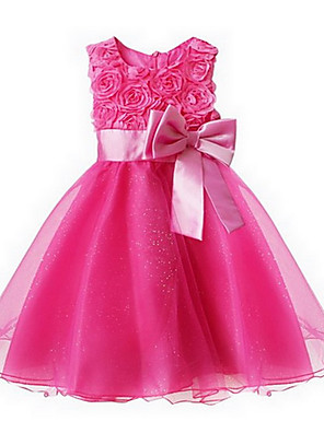 cheap Girls' Dresses-Toddler Girls' Sweet Princess Party Floral Bow Layered Sleeveless Dress Pink