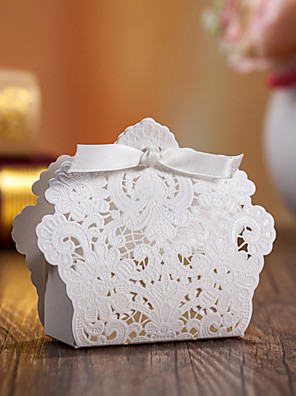 cheap Favor Holders-Round Square Creative Card Paper Favor Holder with Ribbons Printing Favor Boxes - 12