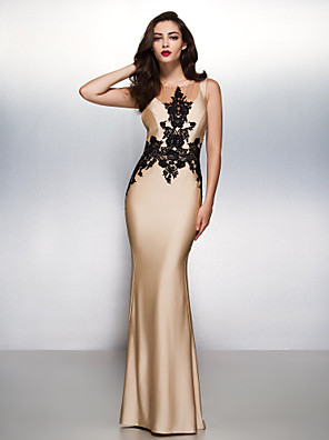cheap Prom Dresses-Mermaid / Trumpet Elegant Beautiful Back Engagement Formal Evening Dress Illusion Neck Sleeveless Sweep / Brush Train Jersey with Appliques 2020