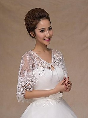 cheap Wedding Wraps-Sleeveless Capelets Lace Wedding / Party Evening / Casual Wedding  Wraps With Rhinestone