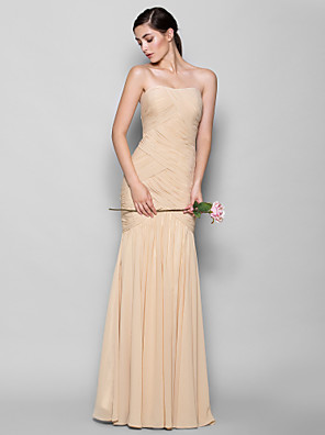 cheap Prom Dresses-Fit & Flare Sweetheart Neckline Floor Length Chiffon Bridesmaid Dress with Criss Cross / Open Back