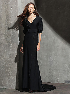 cheap Special Occasion Dresses-Sheath / Column Celebrity Style Holiday Cocktail Party Formal Evening Dress V Neck Half Sleeve Sweep / Brush Train Knit with Pleats 2020