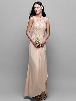 cheap Bridesmaid Dresses-A-Line Bateau Neck Asymmetrical Chiffon / Lace Bodice Bridesmaid Dress with Lace / Criss Cross