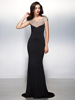 cheap Special Occasion Dresses-Mermaid / Trumpet Beautiful Back Formal Evening Black Tie Gala Dress V Neck Short Sleeve Sweep / Brush Train Jersey with Beading 2020
