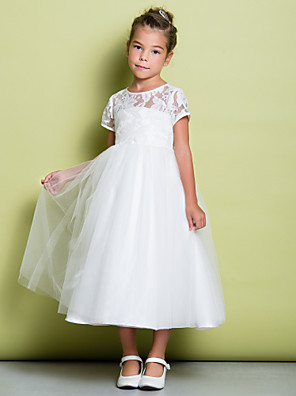 cheap Flower Girl Dresses-A-Line Tea Length Wedding / First Communion Flower Girl Dresses - Lace / Tulle Short Sleeve Jewel Neck with Lace