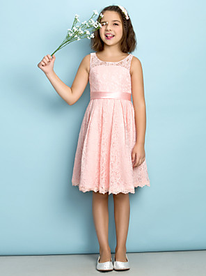 cheap Junior Bridesmaid Dresses-A-Line Scoop Neck Knee Length All Over Floral Lace Junior Bridesmaid Dress with Lace / Natural / Mini Me