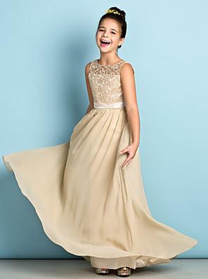cheap Junior Bridesmaid Dresses-A-Line Scoop Neck Floor Length Chiffon / Lace Junior Bridesmaid Dress with Lace / Natural / Mini Me