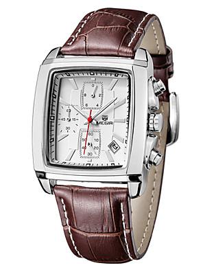 cheap Sport Watches-MEGIR Men's Fashion Watch Quartz Water Resistant / Waterproof Leather Black / Brown Analog - Black Brown