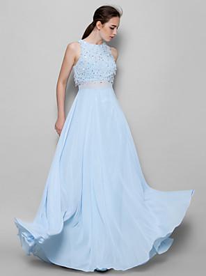 cheap Bridesmaid Dresses-A-Line Jewel Neck Floor Length Chiffon Bridesmaid Dress with Beading / Sequin / Sparkle & Shine
