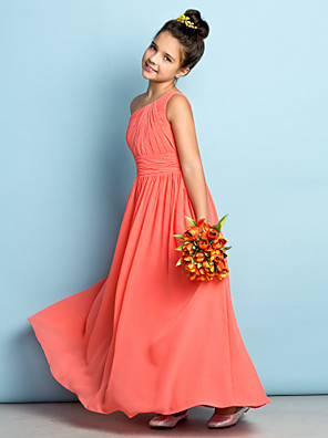 cheap Bridesmaid Dresses-A-Line One Shoulder Ankle Length Chiffon Junior Bridesmaid Dress with Side Draping / Natural / Mini Me