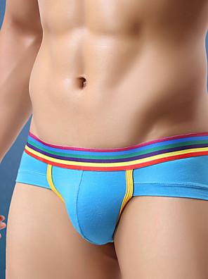 cheap Men's Exotic Underwear-Men's Super Sexy Briefs Underwear Color Block 1 Piece Black Light Blue White M L XL
