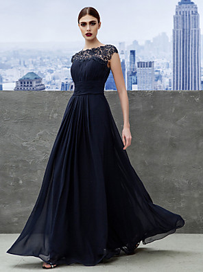 cheap Mother of the Bride Dresses-A-Line Empire Blue Wedding Guest Formal Evening Dress Boat Neck Short Sleeve Floor Length Georgette with Ruched Lace Insert 2020