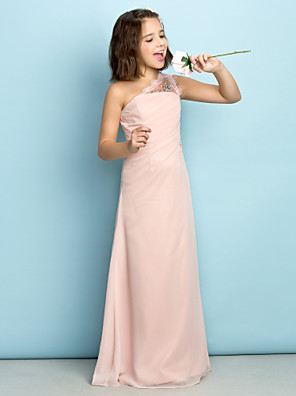 cheap Junior Bridesmaid Dresses-Princess One Shoulder Floor Length Chiffon Junior Bridesmaid Dress with Crystals / Side Draping / Natural / Mini Me