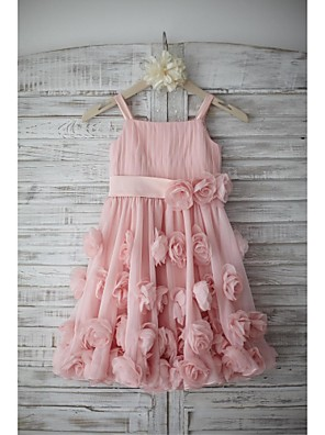 cheap Flower Girl Dresses-A-Line Knee Length Holiday Flower Girl Dresses - Chiffon Sleeveless Straps with Sash / Ribbon / Bow(s) / Draping