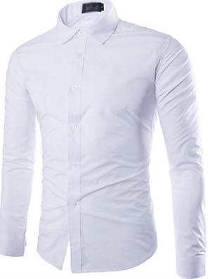 povoljno Muške košulje-Muškarci Ležerno / za svaki dan Majica Jednobojni Dugih rukava Tops Obala Crn Svijetlo plava