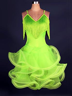 cheap Bridesmaid Dresses-Latin Dance Dress Ruched Tassel Women's Training Performance Sleeveless Spandex Crepe / Samba