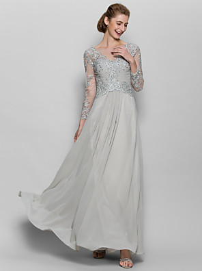 cheap Prom Dresses-A-Line Mother of the Bride Dress Sparkle & Shine Scoop Neck Floor Length Chiffon Lace Long Sleeve with Appliques 2020