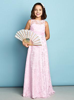cheap Junior Bridesmaid Dresses-Sheath / Column Jewel Neck Floor Length Lace Junior Bridesmaid Dress with Lace / Natural / Mini Me