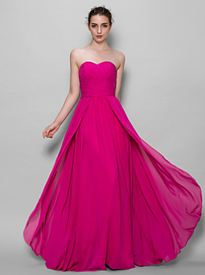 cheap Bridesmaid Dresses-A-Line Sweetheart Neckline Floor Length Chiffon Bridesmaid Dress with Criss Cross
