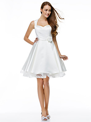 cheap Cocktail Dresses-Ball Gown Cute Holiday Cocktail Party Prom Dress Sweetheart Neckline Sleeveless Knee Length Satin with Buttons Flower 2020