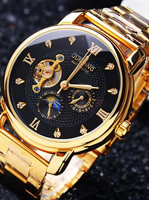 baratos Os mais vendidos-Homens relógio mecânico Automático - da corda automáticamente Luxo Impermeável Aço Inoxidável Dourada Analógico - Dourado Branco Preto / Japanês / Gravação Oca / imitação de diamante / Japanês