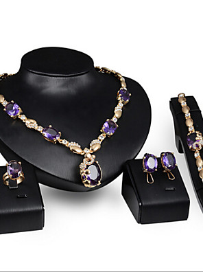 cheap Cocktail Dresses-Women's Synthetic Amethyst Jewelry Set Ladies Rhinestone Earrings Jewelry Purple For Wedding Party Special Occasion Anniversary Birthday Engagement / Rings / Gift / Daily / Necklace
