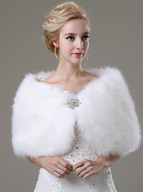 cheap Evening Dresses-Sleeveless Shawls Faux Fur Wedding / Party Evening / Casual Wedding  Wraps / Fur Wraps With Rhinestone