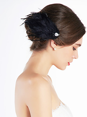 cheap Fascinators-Gorgeous Feather Wedding Bridal Corsage Headpiece Black