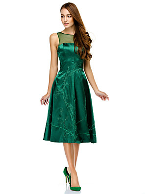 cheap Special Occasion Dresses-A-Line See Through Cocktail Party Prom Company Party Dress Illusion Neck Sleeveless Knee Length Charmeuse with Pattern / Print 2020