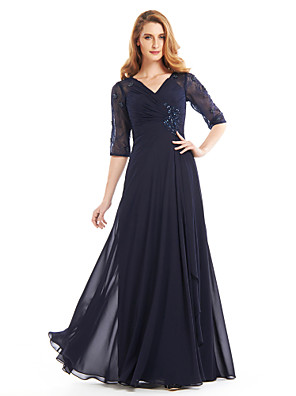 cheap Prom Dresses-A-Line Mother of the Bride Dress Vintage Inspired V Neck Floor Length Chiffon Half Sleeve with Criss Cross Beading 2020