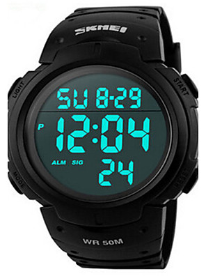 cheap Sport Watches-SKMEI Men's Sport Watch Wrist Watch Digital Water Resistant / Waterproof Quilted PU Leather Black Digital - Golden Black Red Two Years Battery Life / Alarm / Calendar / date / day / Chronograph