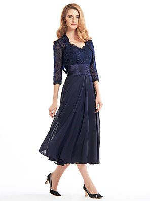 cheap Cocktail Dresses-A-Line Mother of the Bride Dress Convertible Dress V Neck Tea Length Chiffon Corded Lace Sleeveless with Lace Pleats Appliques 2020 / Illusion Sleeve
