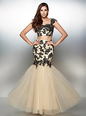 cheap Special Occasion Dresses-Fit & Flare Two Piece Prom Formal Evening Dress Sweetheart Neckline Sleeveless Floor Length Lace Tulle with Appliques 2020