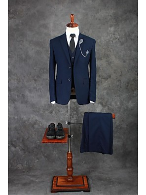 cheap Wedding Party Dresses-Ink Blue Solid Colored Tailored Fit Cotton Blend Suit - Notch Single Breasted Two-buttons / Suits