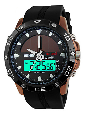 cheap Sport Watches-SKMEI Men's Sport Watch Wrist Watch Solar Energy Luxury Water Resistant / Waterproof Quilted PU Leather Black Analog - Digital - Black Silver Brown Two Years Battery Life / Alarm / Chronograph