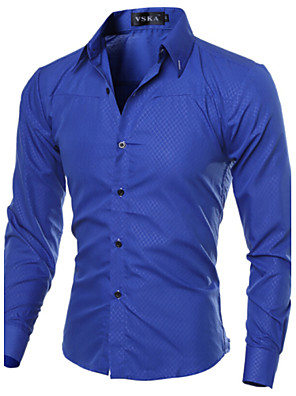 cheap Shirts-Men's Plus Size Solid Colored Basic Slim Shirt Business Daily Work Spread Collar Wine / White / Black / Navy Blue / Royal Blue / Spring / Fall / Long Sleeve