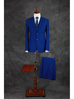 cheap Wedding Party Dresses-Royal Blue Solid Colored Tailored Fit Cotton Blend Suit - Notch Single Breasted Two-buttons / Suits