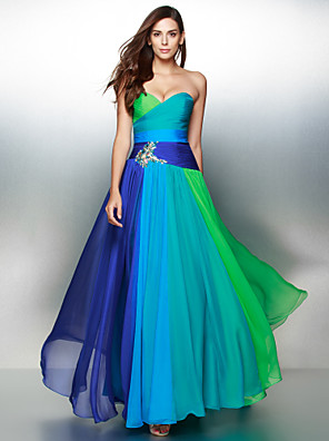 cheap Evening Dresses-A-Line Color Block Elegant Prom Formal Evening Dress Sweetheart Neckline Sleeveless Floor Length Chiffon with Ruched Crystals 2020