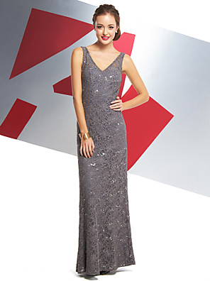 cheap Evening Dresses-Mermaid / Trumpet Minimalist Beaded & Sequin Prom Formal Evening Dress V Neck Sleeveless Ankle Length All Over Lace with Lace 2020