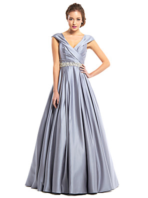 cheap Prom Dresses-A-Line Elegant Grey Wedding Guest Prom Dress V Neck Sleeveless Floor Length Satin with Criss Cross Crystals 2020