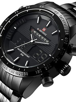 cheap Cocktail Dresses-NAVIFORCE Men's Sport Watch Wrist Watch Japanese Quartz Stainless Steel Black / Silver 30 m Water Resistant / Waterproof Alarm Calendar / date / day Analog - Digital Luxury - Black Silver Red Two