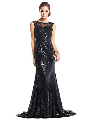 cheap Evening Dresses-Mermaid / Trumpet Sparkle & Shine Beaded & Sequin Formal Evening Dress Illusion Neck Sleeveless Sweep / Brush Train Sequined with Sequin 2020
