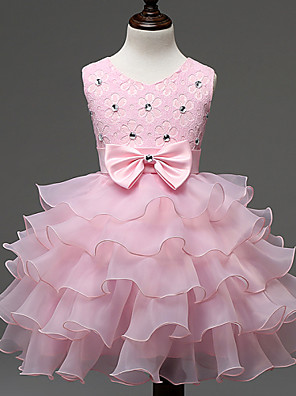 cheap Flower Girl Dresses-Kids Girls' Sweet Princess Party Birthday Festival Solid Colored Lace Bow Layered Sleeveless Dress Red
