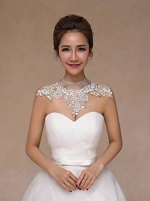 cheap Wedding Wraps-Sleeveless Collars Lace Wedding Wedding  Wraps With Crystal / Pearl