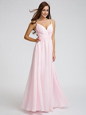 cheap Bridesmaid Dresses-A-Line V Neck / Spaghetti Strap Floor Length Chiffon Bridesmaid Dress with Side Draping / Criss Cross