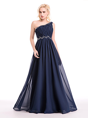 cheap Evening Dresses-Ball Gown Cocktail Party Formal Evening Dress One Shoulder Floor Length Chiffon with Crystals Beading Draping 2020