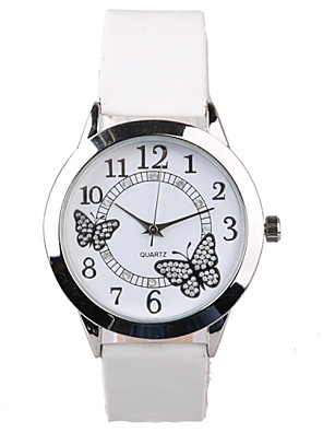 cheap Quartz Watches-Women's Wrist Watch Quartz Quilted PU Leather White Water Resistant / Waterproof Imitation Diamond Analog Ladies Sparkle Butterfly Fashion Dress Watch - White One Year Battery Life / Tianqiu 377