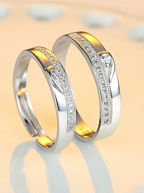 cheap Quartz Watches-Couple's Couple Rings Eternity Band Ring Cubic Zirconia 2pcs Heart 1 Heart 2 Heart 3 Sterling Silver Ladies Bling Bling Wedding Party Jewelry Two tone Sweet Heart Adjustable
