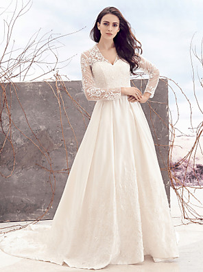 cheap Wedding Dresses-A-Line Wedding Dresses V Neck Chapel Train Lace Over Satin Long Sleeve Vintage Illusion Sleeve with Lace 2020 / Royal Style