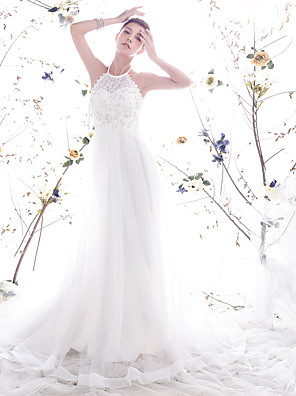 cheap Wedding Dresses-Princess A-Line Wedding Dresses Halter Neck Chapel Train Lace Organza Sleeveless Open Back with Pearl Lace 2020